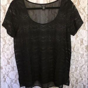 Torrid Black Lace & Sheer Top